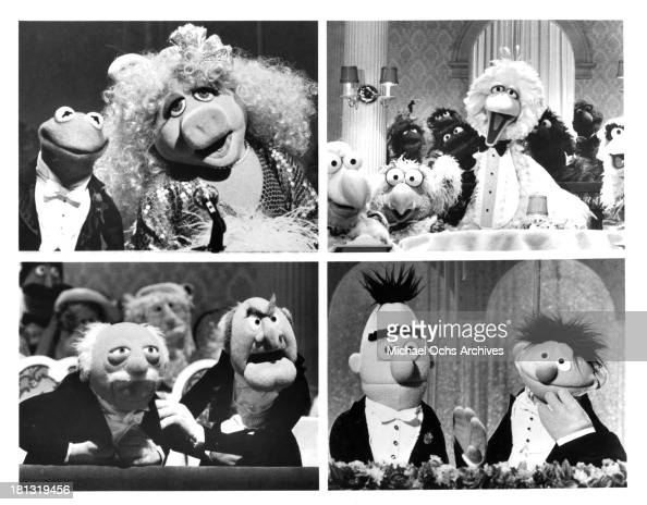 Kermit the Frog and Miss Piggy and Big Bird and friends Muppet Critics Waldorf and Statler and Bert and Ernie on set of 'The Muppet A Celebration of...