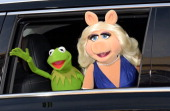 Kermit the Frog and Miss Piggy attend the premiere of Disney's 'Muppets Most Wanted' at the El Capitan Theatre on March 11 2014 in Hollywood...