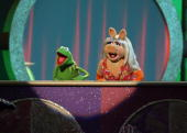 Kermit the Frog and Miss Piggy onstage at the 2006 TV Land Awards at the Barker Hangar on March 19 2006 in Santa Monica California