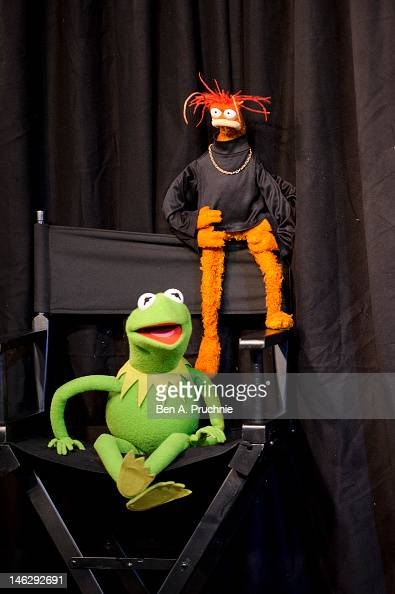 Kermit The Frog and Pepe The King Prawn make a personal appearance at HMV Oxford Street on June 13 2012 in London England