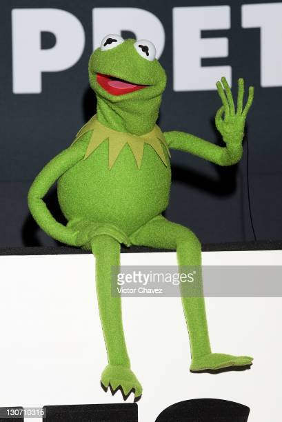 Kermit the frog attends a photocall to promote the new film 'The Muppets' at the Four Seasons Hotel on October 28 2011 in Mexico City Mexico