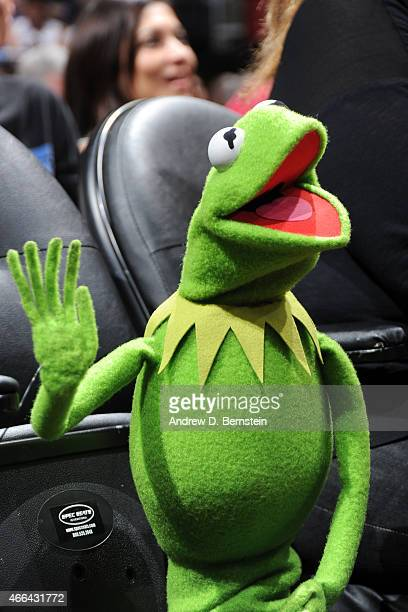 Kermit the Frog attends the Houston Rockets against the Los Angeles Clippers game on March 15 2015 at STAPLES Center in Los Angeles California NOTE...