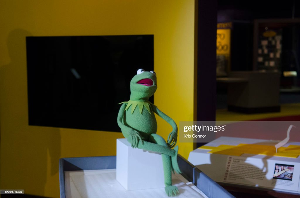 Kermit the Frog is seen in from the Ruby Slippers from 'The Wizard Of Oz' display, the slippers were taken off view from the Smithsonian's National Museum of American History to appear in the 'Hollywood Costume' exhibition at the Victoria and Albert Museum in London at National Museum Of American History on October 9, 2012 in Washington, DC.
