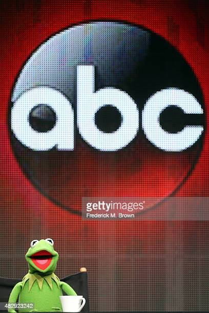 Kermit the Frog speaks onstage during the 'The Muppets' panel discussion at the ABC Entertainment portion of the 2015 Summer TCA Tour at The Beverly...