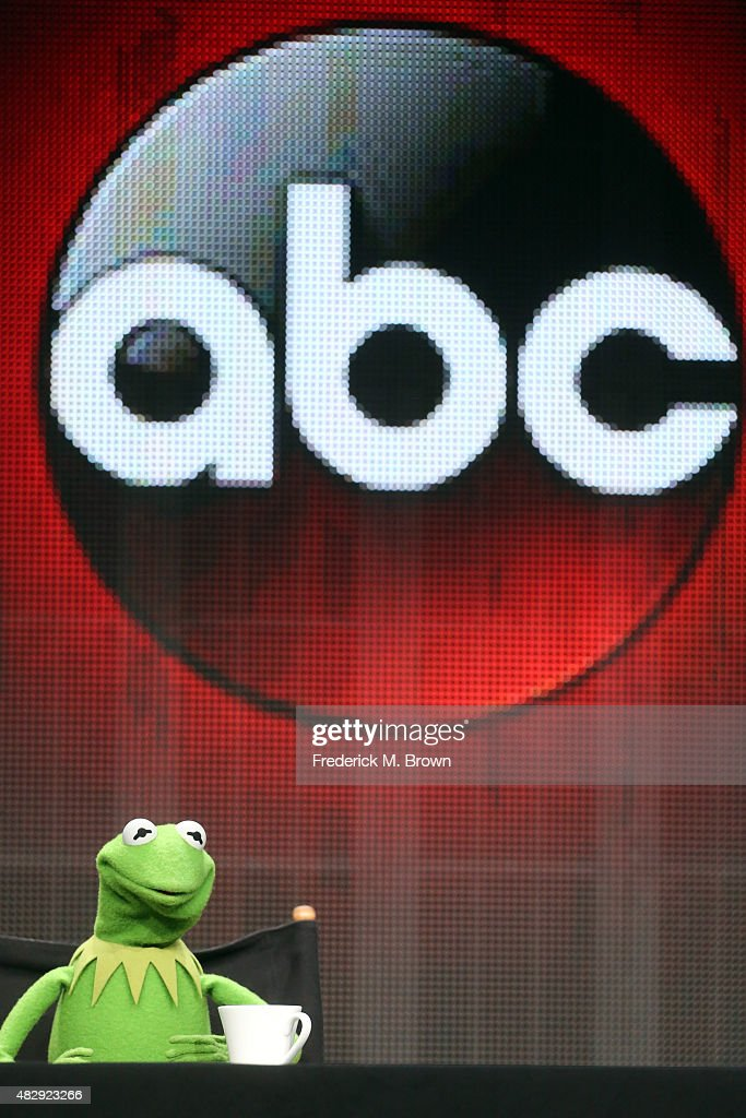 Kermit the Frog speaks onstage during the 'The Muppets' panel discussion at the ABC Entertainment portion of the 2015 Summer TCA Tour at The Beverly Hilton Hotel on August 4, 2015 in Beverly Hills, California.