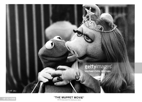 Kermit the Frog/Jim Henson and Miss Piggy/Frank Oz on set of 'The Muppet Movie' in 1979
