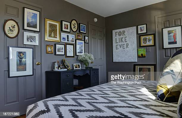 Kerra Michele Huerta and her tiny apartment on October 2013 in Washington DC Pictured the bedroom with a neutral paint covering walls trim and doors