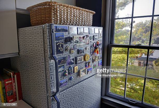 Kerra Michele Huerta and her tiny apartment on October 2013 in Washington DC Pictured Kerra has covered the refrigerator with contact paper and...
