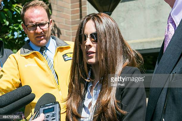 Kerri Kasem the daughter of ailing DJ Casey Kasem issues a statement to the media following her victory at a hearing at Kitsap County Courthouse on...