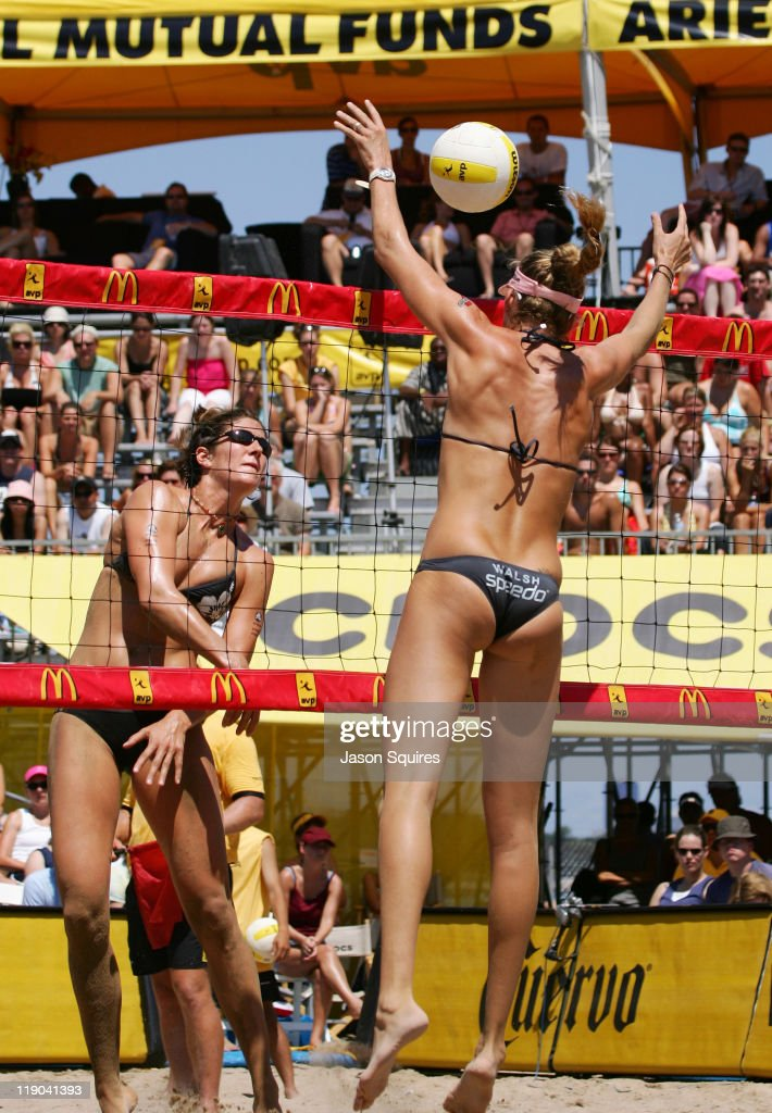 Kerri Walsh and Nicole Branagh in action the 2006 Chicago Open at North Avenue Beach in Chicago Illinois on July 23 2006