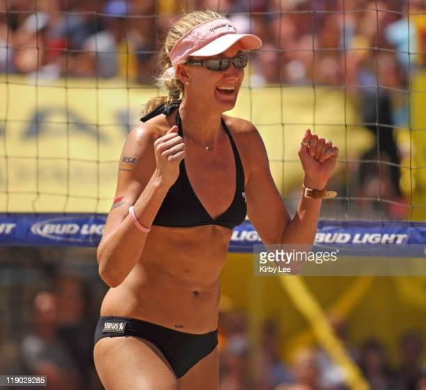 Kerri Walsh celebrates a point during AVP Manhattan Beach Open women's final in Manhattan Beach Calif on Saturday August 20 2005 Walsh and Misty...