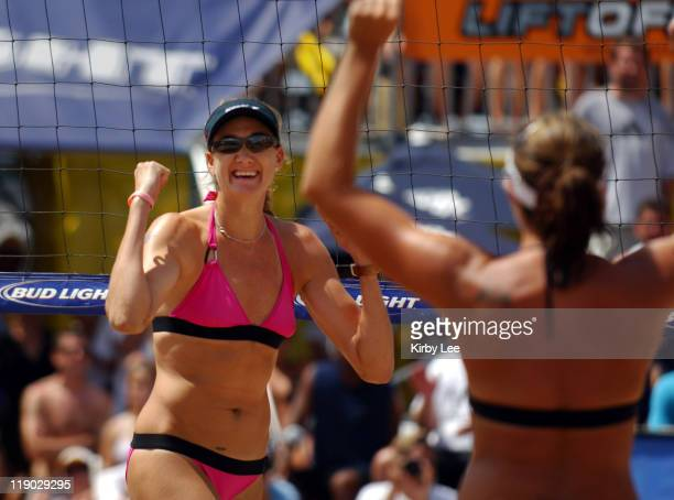 Kerri Walsh celebrates a point in the AVP Hermosa Beach Open Women's Final in Hermosa Beach Calif on Sunday July 24 2005 Walsh teamed with Misty May...