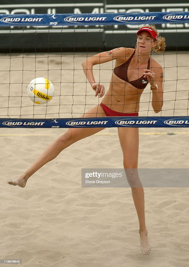 Kerri Walsh in action during the SemiFinal round of the 2005 Huntington Beach Open at the Huntington Beach Pier August 14 2005