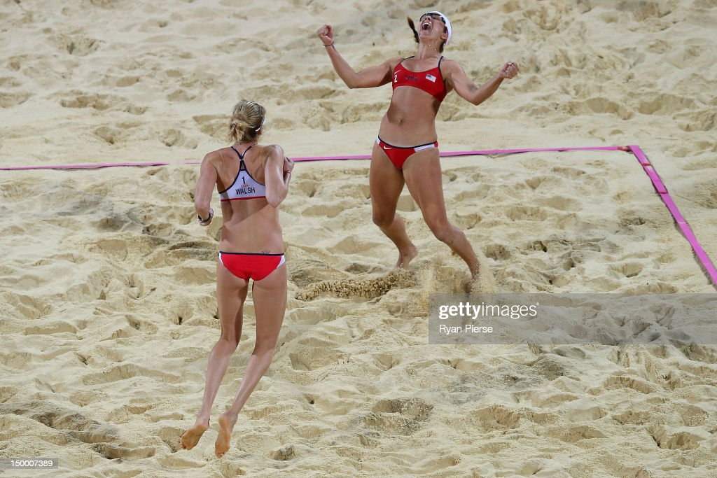 Kerri Walsh Jennings and Misty MayTreanor of the United States celebrates winning the Gold medal in the Women's Beach Volleyball Gold medal match...
