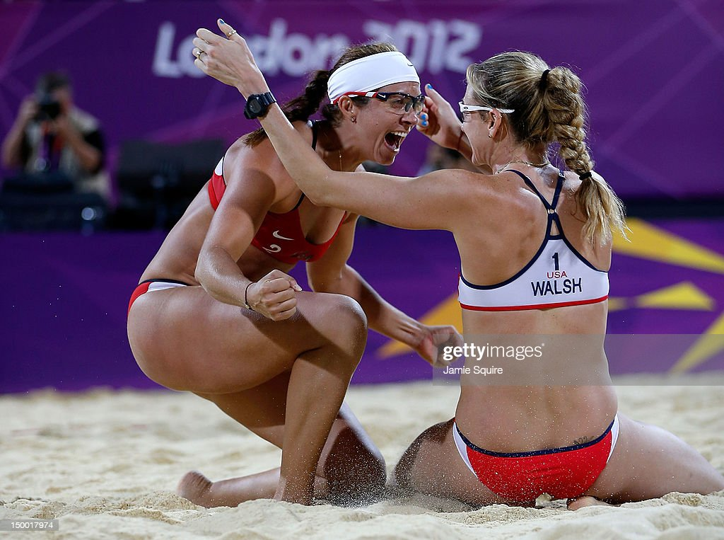 Kerri Walsh Jennings and Misty MayTreanor of the United States celebrate winning the Gold medal in the Women's Beach Volleyball Gold medal match...