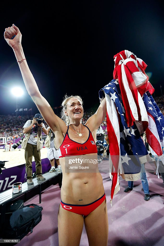 Kerri Walsh Jennings celebrates winning the Gold medal for the Women's Beach Volleyball on Day 12 of the London 2012 Olympic Games at the Horse...