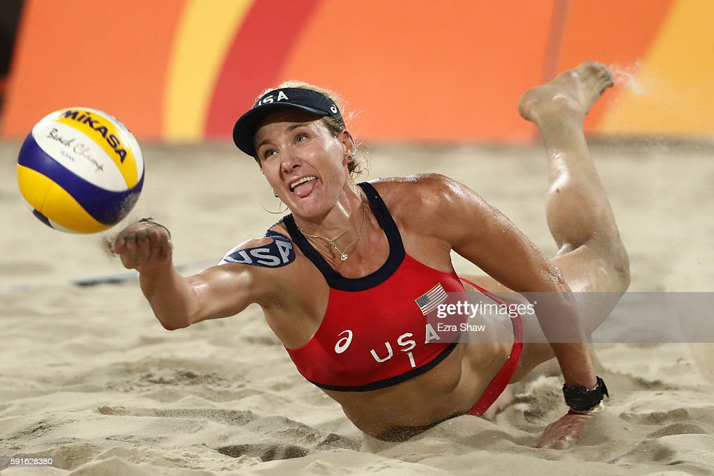 Kerri Walsh Jennings of the United States attempts to play a shot during the Beach Volleyball Women's Bronze medal match against Larissa Franca...