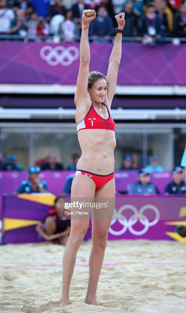 Kerri Walsh Jennings of the United States celebrates after winning match point during the Women's Beach Volleyball Quarter Final match between United...