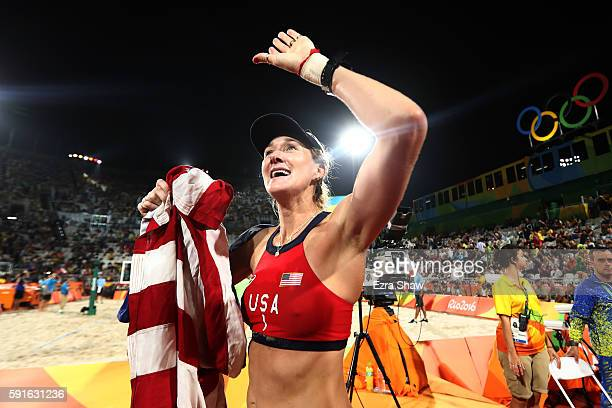 Kerri Walsh Jennings of the United States celebrates winning bronze during the Beach Volleyball Women's Bronze medal match against Larissa Franca...