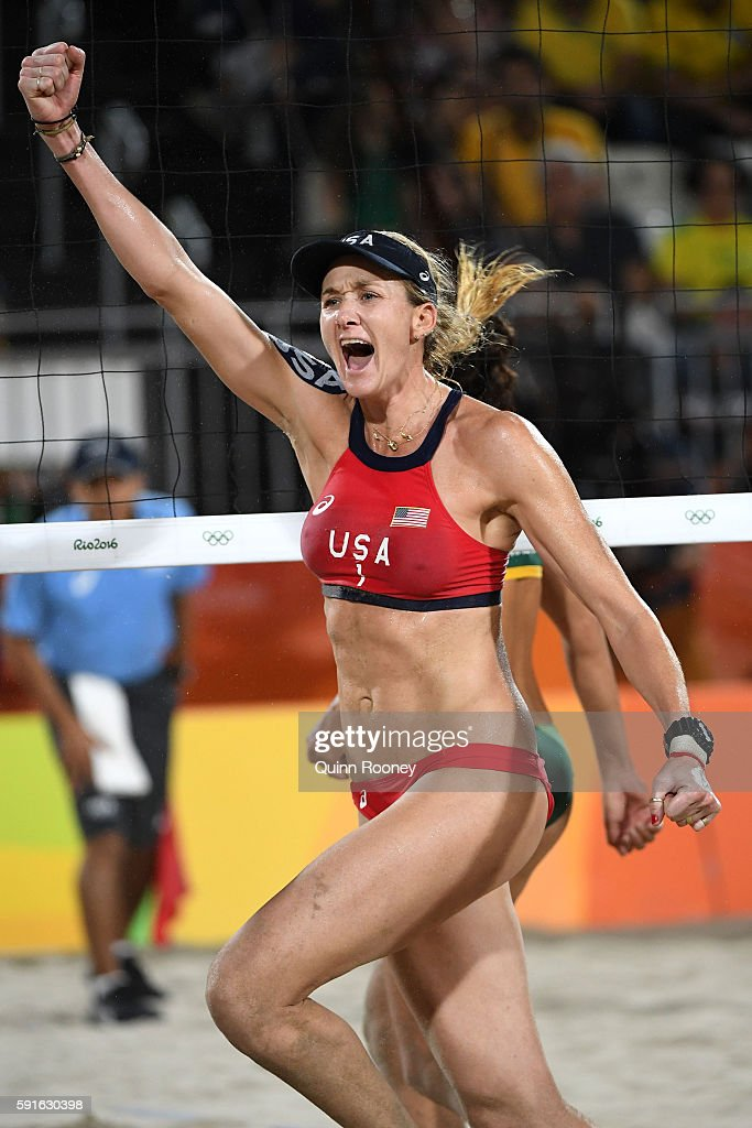 Kerri Walsh Jennings of the United States celebrates winning match point during the Beach Volleyball Women's Bronze medal match against Larissa...