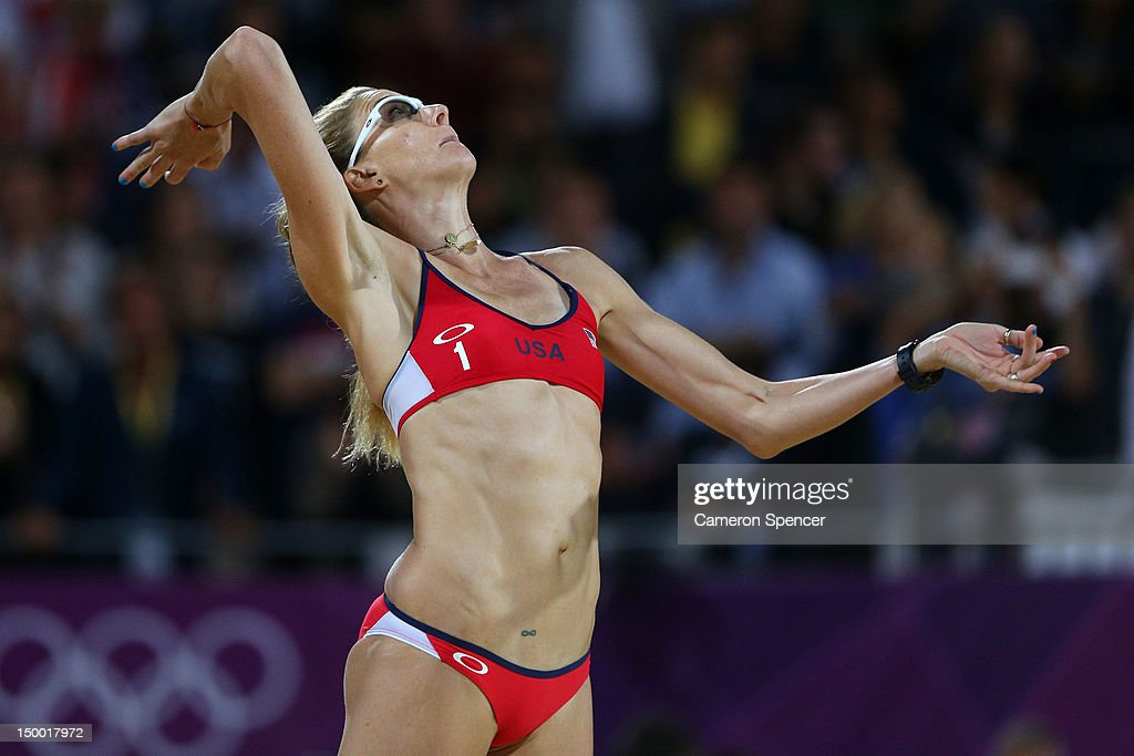 Kerri Walsh Jennings of the United States serves during the Women's Beach Volleyball Gold medal match against the United States on Day 12 of the...