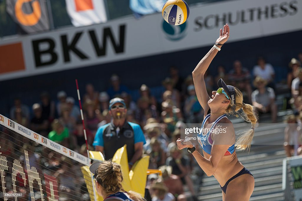 Kerri Walsh Jennings of the United States spikes the ball during the Swatch Beach Volleyball Major Series on July 10 2015 in Gstaad Switzerland
