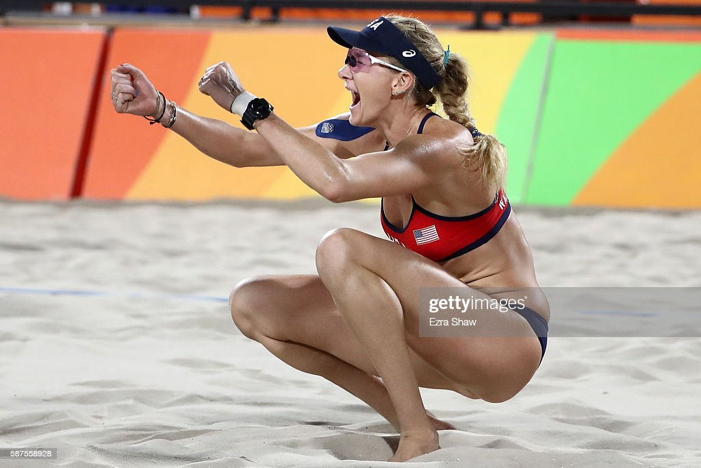 Kerri Walsh Jennings of United States celebrates during the Women's Beach Volleyball preliminary round Pool C match against Fan Wang and Yuan Yue of...