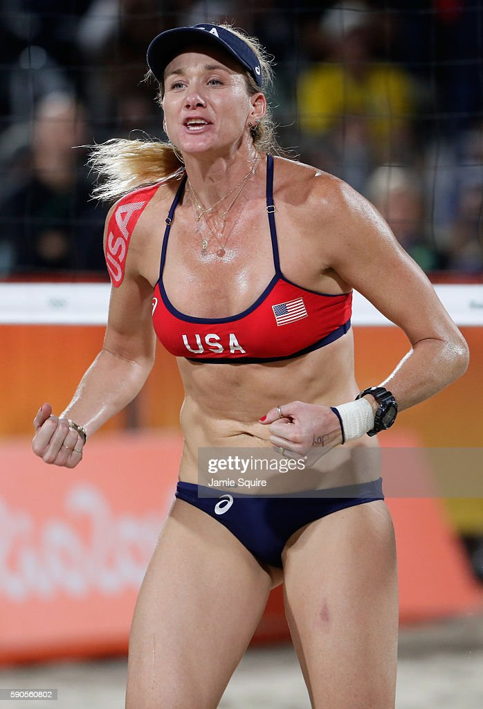 Kerri Walsh Jennings reacts playing with April Ross of the United States during the beach volleyball Women's Semi final against Agatha Bednarczuk...