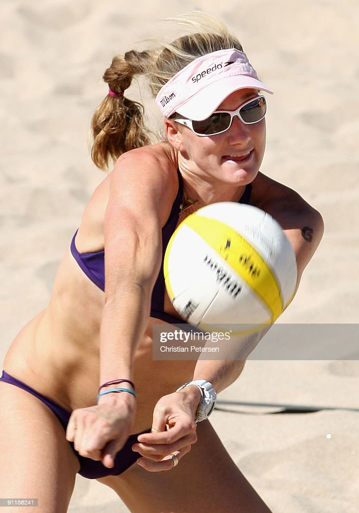 Kerri Walsh of USA passes the ball during the AVP Crocs Tour World Challenge match against Brazil at the Westgate City Center on September 25 2009 in...