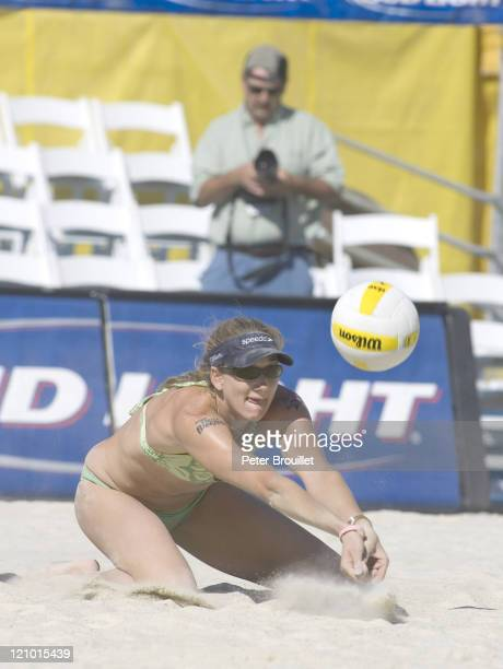 Kerri Walsh receives a serve in the finals of the AVP Santa Barbara Open in Santa Barbara California on May 22 2005 Misty May and her partner Kerri...