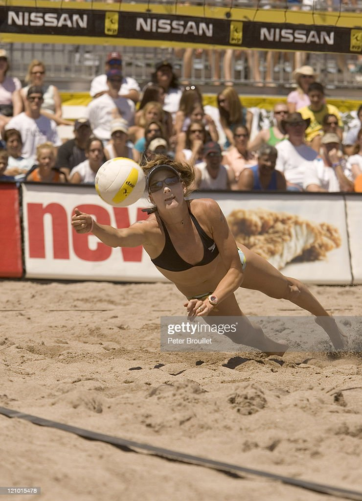 Kerri Walsh the Olympic Beach Volleyball Gold Medalist digs a ball in a AVP game during the 2005 Tempe Open at the Tempe Beach Park in Tempe Arizona...