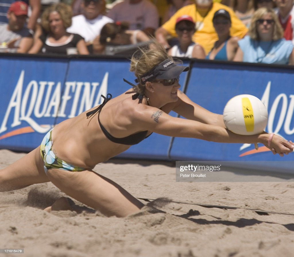 Kerri Walsh the Olympic Beach Volleyball Gold Medalist passes a ball to partner Misty May in a AVP game at Fort Lauderdale Florida on April 3 2005