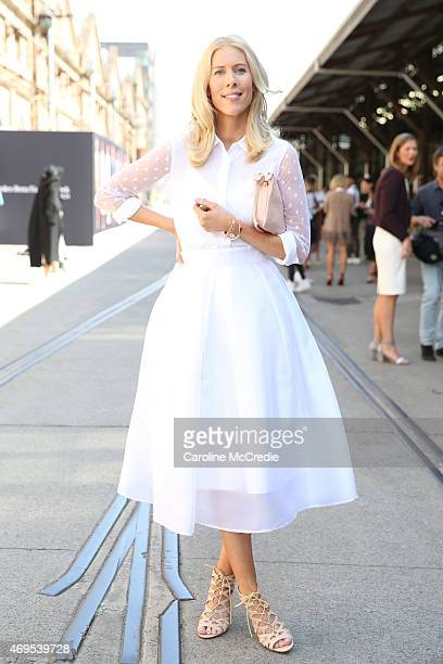 Kerrie Hess wearing a Witchery shirt and a Aurelio Costarella skirt at MercedesBenz Fashion Week Australia 2015 at Carriageworks on April 13 2015 in...