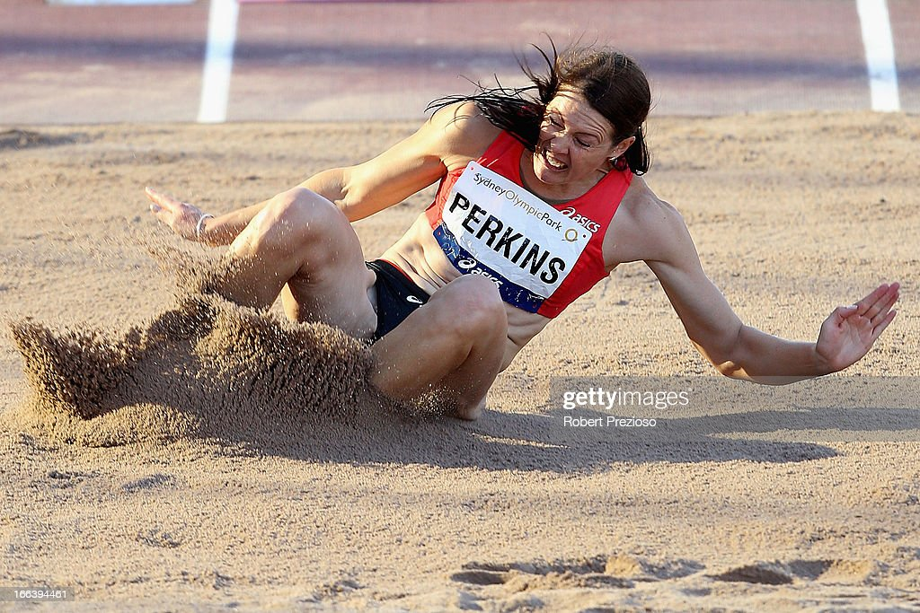 Kerrie Perkins of ACT competes in Women Long Jump Open Preliminary during day two of the Australian Athletics Championships at Sydney Olympic Park Athletic Centre on April 12, 2013 in Sydney, Australia.