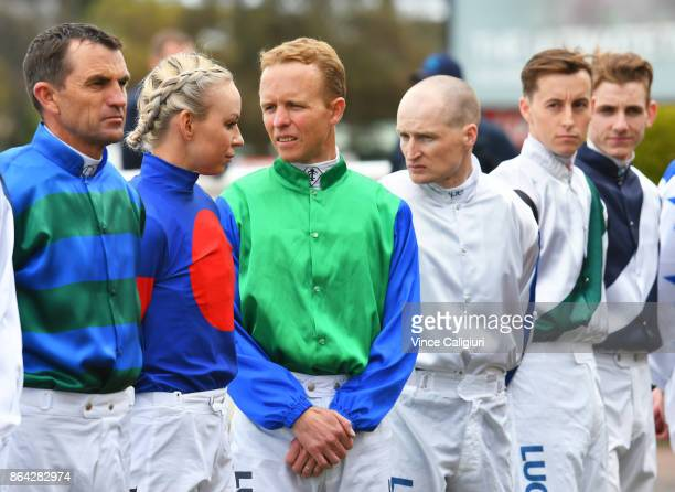 Kerrin McEvoy is seen at the pre ceremony during Melbourne Racing on Caulfield Cup Day at Caulfield on October 21 2017 in Melbourne Australia