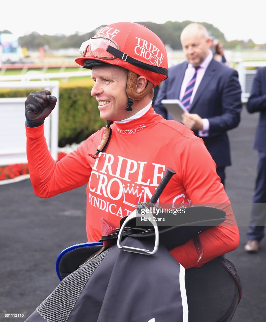 Kerrin McEvoy on Redzel returns to scale after winning race 7 The Everest during The Everest Day at Royal Randwick Racecourse on October 14, 2017 in Sydney, Australia.