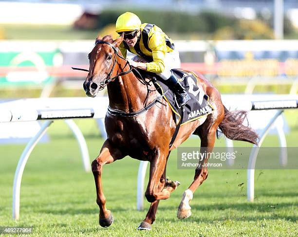 Kerrin McEvoy rides Amanpour to win race 7 The Queen of The Turf Stakes during The Championships at Royal Randwick Racecourse on April 11 2015 in...