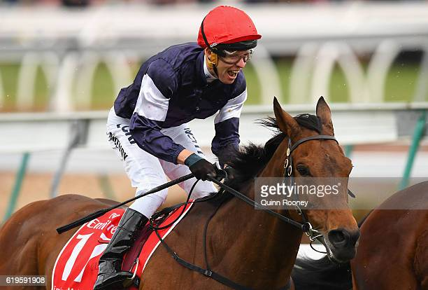 Kerrin McEvoy riding Almandin celebrates winning race 7 the Emirates melbourne Cup on Melbourne Cup Day at Flemington Racecourse on November 1 2016...