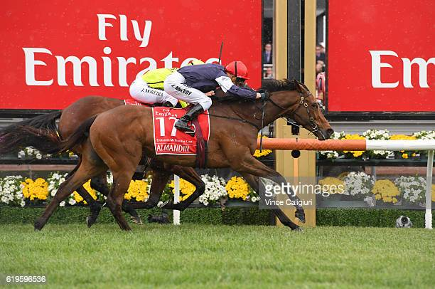 Kerrin McEvoy riding Almandin defeats Joao Moreira riding Heartbreak City to win Race 7 the Emirates Melbourne Cup on Melbourne Cup Day at Flemington...