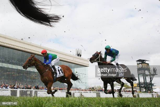 Kerrin McEvoy riding Bonneval finishes unplaced in Race 8 Caulfield Cup during Melbourne Racing on Caulfield Cup Day at Caulfield Racecourse during...