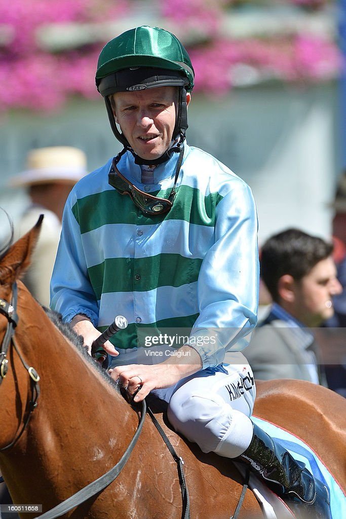 Kerrin McEvoy riding Durnford after winning the National Jockey's Trust Mornington Cup Prelude during National Jockey's Trust Race Day at Caulfield Racecourse on February 2, 2013 in Melbourne, Australia.