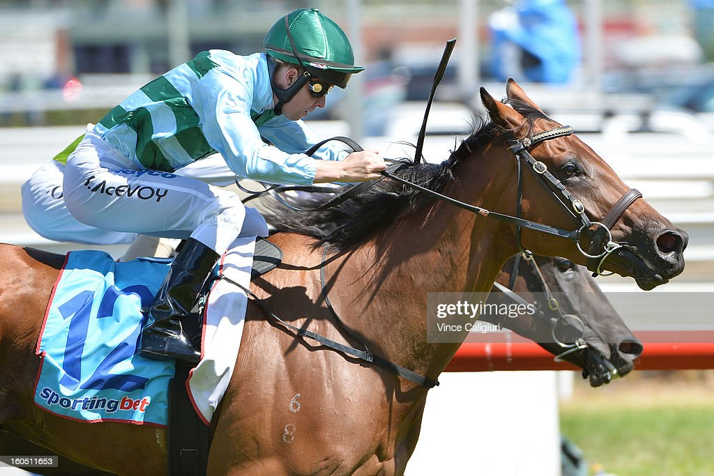 Kerrin McEvoy riding Durnford wins the National Jockey's Trust Mornington Cup Prelude during National Jockey's Trust Race Day at Caulfield Racecourse on February 2, 2013 in Melbourne, Australia.
