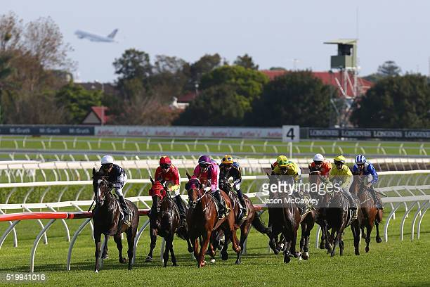 Kerrin McEvoy riding Gallante leads the field during Race 7 in the Schweppes Sydney Cup during Queen Elizabeth Stakes Day at Royal Randwick...