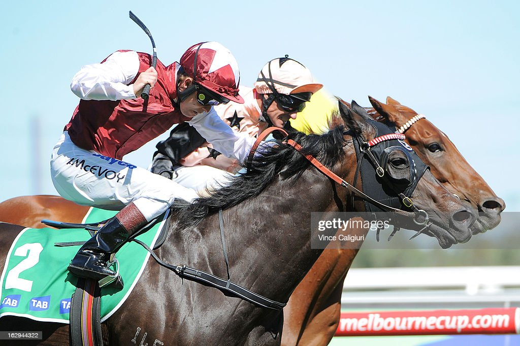 Kerrin McEvoy riding Launay wins from Glen Boss riding Callanish in the TAB Stakes during Melbourne Racing at Flemington Racecourse on March 2, 2013 in Melbourne, Australia.