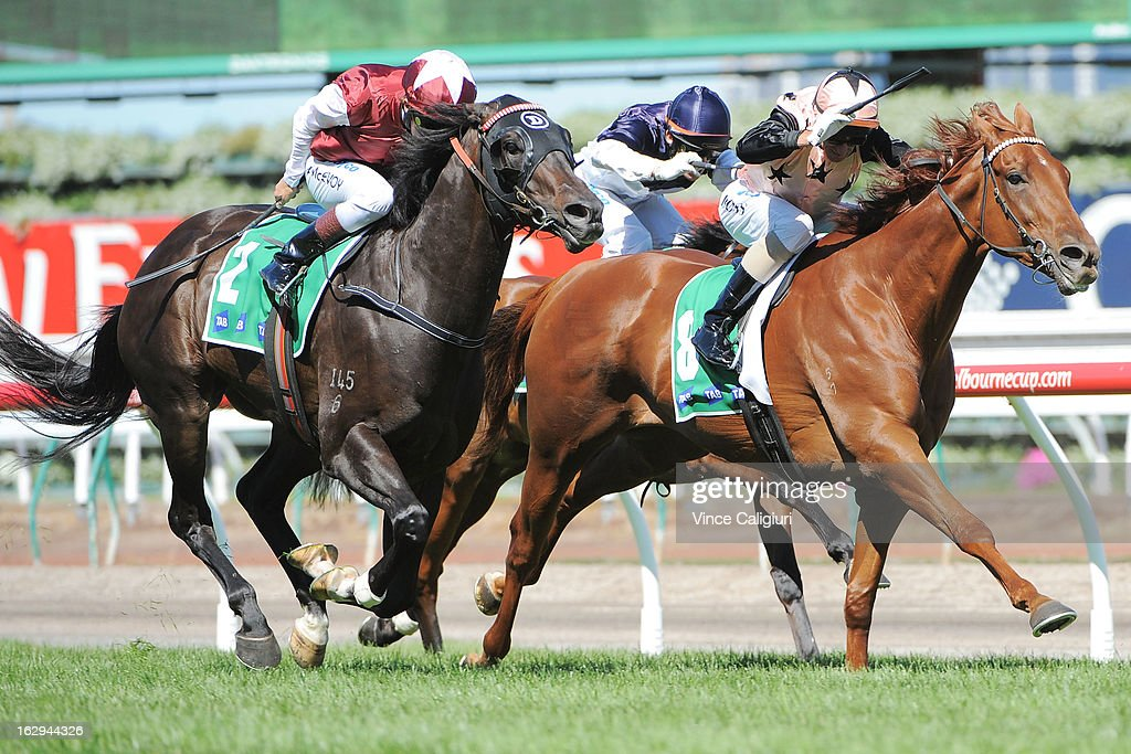 Kerrin McEvoy riding Launay (L) wins from <a gi-track='captionPersonalityLinkClicked' href=/galleries/search?phrase=Glen+Boss&family=editorial&specificpeople=194758 ng-click='$event.stopPropagation()'>Glen Boss</a> riding Callanish in the TAB Stakes during Melbourne Racing at Flemington Racecourse on March 2, 2013 in Melbourne, Australia.