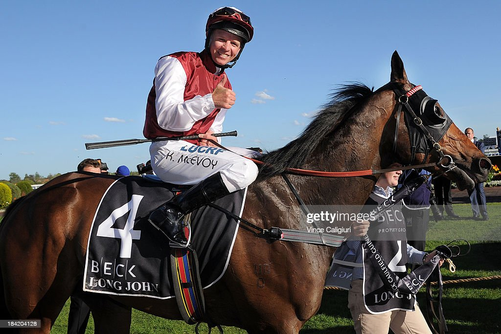 Kerrin McEvoy riding Long John after winning the Beck Caulfield Guineas during Melbourne Racing at Caulfield Racecourse on October 12, 2013 in Melbourne, Australia.