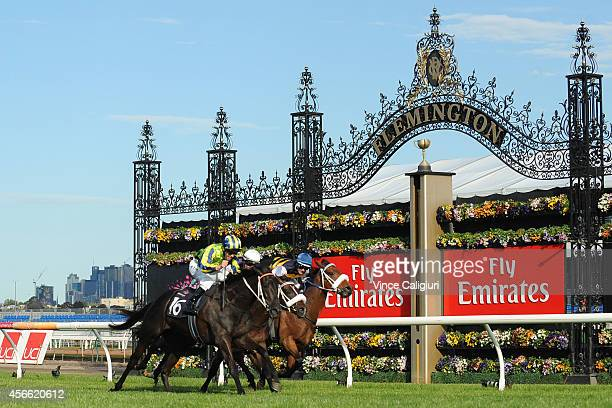 Kerrin McEvoy riding Lucia Valentina defeats Steven Arnold riding Lidari and Luke Nolen riding Brambles in Race 7 the Turnball Stakes during Turnbull...