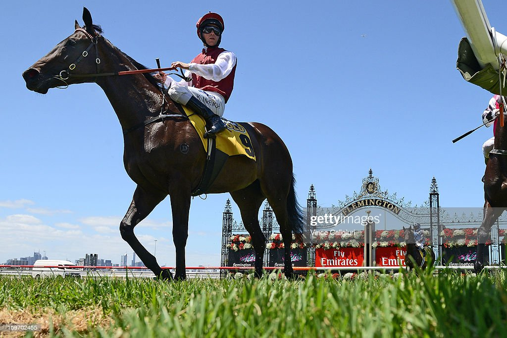 Kerrin McEvoy riding Metastasio after winning the Nursery Plate during Melbourne racing at Flemington Racecourse on January 19, 2013 in Melbourne, Australia.