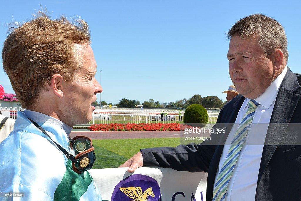 Kerrin McEvoy talks to trainer Pat Carey after winning the National Jockey's Trust Mornington Cup Prelude during National Jockey's Trust Race Day at Caulfield Racecourse on February 2, 2013 in Melbourne, Australia.