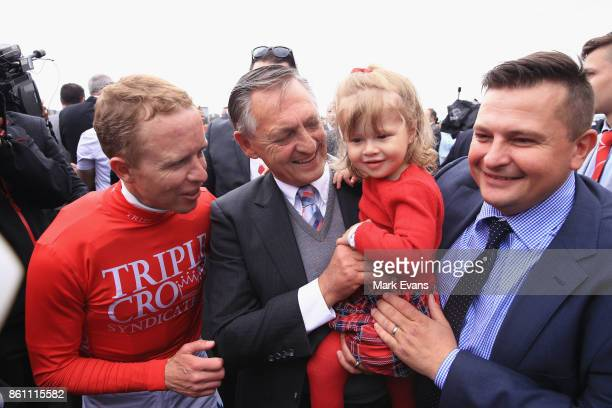 Kerrin McEvoy with trainers Peter and Paul Snowden and Demi Snowden after Redzel won the Everest during The Everest Day at Royal Randwick Racecourse...